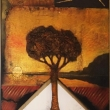 LINGUAGGI-INTERROTTO-TRAMONTO-AFRICANO-60X40X4-Eseguito-con-tecnica-mista-cartapesta-falcetto-foglie-oro-e-acrilico-su-tela-in-esposizione-Art-Bank-China
