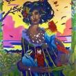 La-dama-con-le-perle-e-i-pappagalliacrilico-su-tela100x1102018