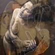 Constantin-Migliorini_Il-sogno_2018_cm100x83-_oil-and-acrylic-on-canvas-and-jute-