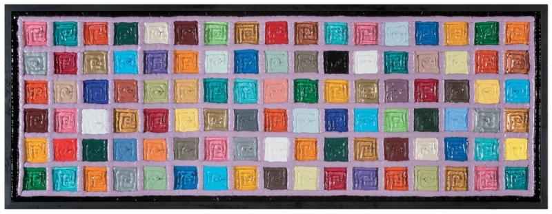 002/14 MURRINA POP - VIOLA - 2014, PVC, acrilico e silicone su tela, 144x54x5cm