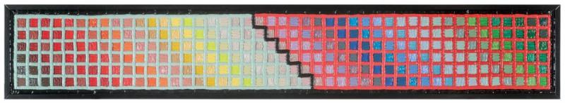 002/15 MURRINA POP - ROSSO/MENTA - 2015, PVC e silicone su tela, 204x34x7cm