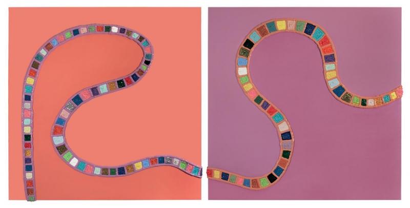 003-A-B/12 - 2012, olio, acrilico, silicone su tela, 250x120x5cm