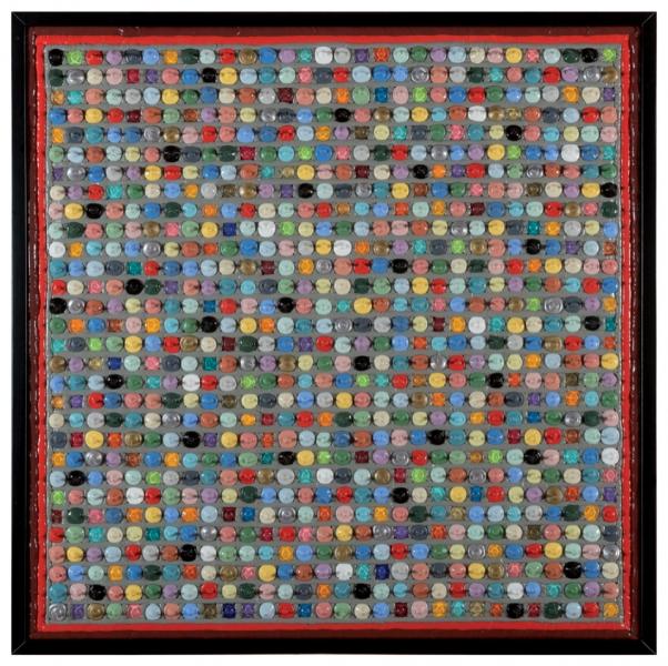 007/14 COLOR DROPS - GRIGIO CEMENTO - 2014, acrilico e silicone su tela, 84x84x7cm