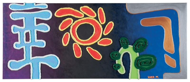 010/09 - 2009, olio, acrilico, silicone su tela, 120x50x5cm