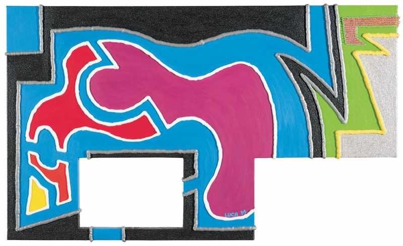 028/07 - 2007, olio, acrilico, silicone su tela, 110x55x5cm