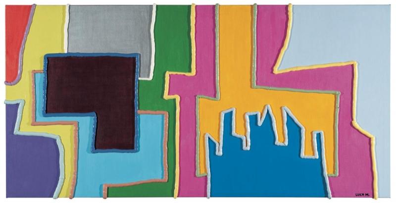 041/07 - 2007, olio, acrilico, silicone su tela, 120x60x5cm