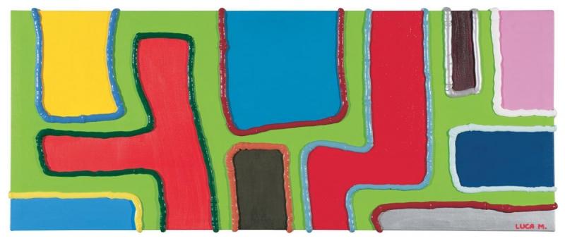 056/07 - 2007, olio, acrilico, silicone su tela, 100x40x5cm
