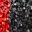 Nero-su-Rosso-2018-acrilico-su-pellicola-VHS-su-plastica-e-legno-cm-48x48-Giuseppe-Perrone-PARTICOLARE-2