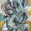 Light-blue-complexity-on-golden-scene-tecnica-mista-70x100-cm