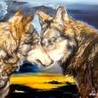 Lupi_-pittura-su-tavola-50x35