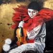 Un-Pierrot_-pittura-su-tavola-con-foglia-doro-50x50