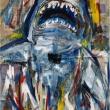 JAWS-Acrilico-su-fogli-di-giornale-735x505-cm