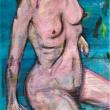 Nudo-Acrilico-su-fogli-di-giornale-59x865-cm-1