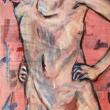 Nudo-Acrilico-su-fogli-di-giornale-59x865-cm-5