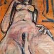 Nudo-Acrilico-su-fogli-di-giornale-59x865-cm-7