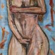 Nudo-Acrilico-su-fogli-di-giornale-59x865-cm-8