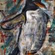 Pinguino-Acrilico-su-fogli-di-giornale-84x64-cm