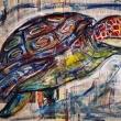 Tartaruga-Marina-Acrilico-su-fogli-di-giornale-73x99-cm